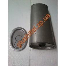 Глушитель универсальный плоский D.734/45 (Длинна 400мм, ширина 170мм, высота 100мм диаметр входа 45мм)