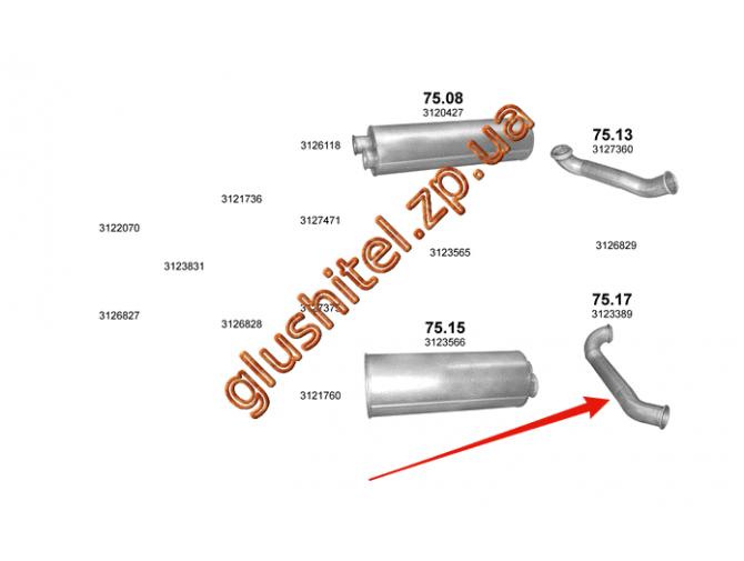 Труба выхлопная Volvo FL6 90-99 (75.17) Polmostrow алюминизированный