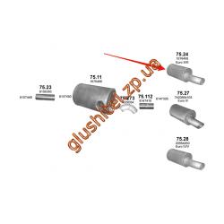 Глушитель Volvo FM7/FM10/FH12/FH16/FL12/FM12 din 80402 93- (75.24) Polmostrow алюминизированный