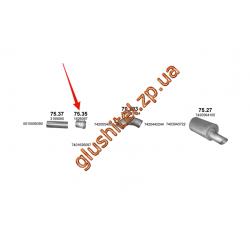 Труба промежуточная Volvo FM/FH/FL, Renault Premium 93- (75.35) Polmostrow алюминизированный