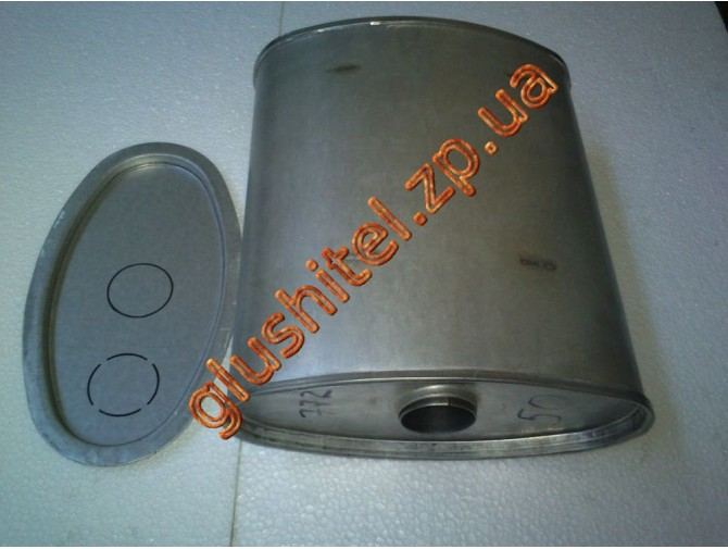 Глушитель универсальный плоский D.763/60 (Длинна 350мм, ширина 260мм, высота 130мм диаметр входа 60мм)