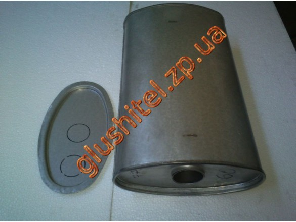 Глушитель универсальный плоский D.774/60 (Длинна 400мм, ширина 260мм, высота 130мм диаметр входа 60мм)