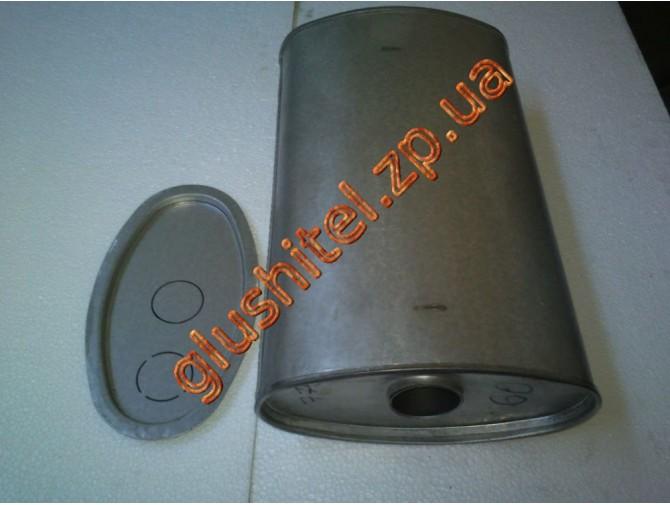 Глушитель универсальный плоский D.776/60 (Длинна 500мм, ширина 260мм, высота 130мм диаметр входа 60мм)