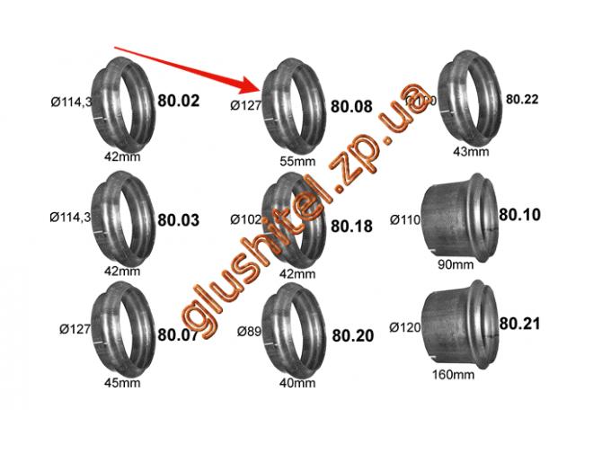 Ремонтная вставка универсальная DIN78229 развальцовка (80.08) Polmostrow алюминизированный