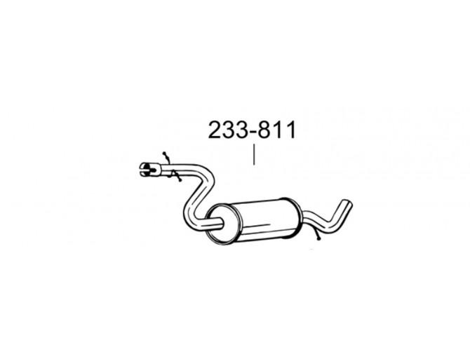 Труба промежуточная Ауди А3 (Audi A3)/Сеат Алтея (Seat Altea) XL 1.9D 06-10 (278-193) Bosal 23.31 алюмінізований
