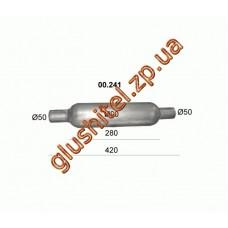Бочка глушителя универсальная ( d= 90 L=420 ; d= 50 )