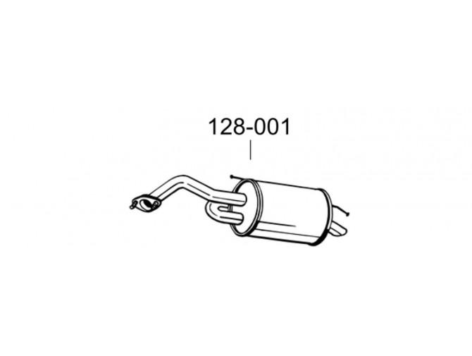 Глушитель ДЕУ Матіз (Daewoo Matiz) 0.8/1.0 05-10 (128-001) Bosal 05.70 алюминизированный
