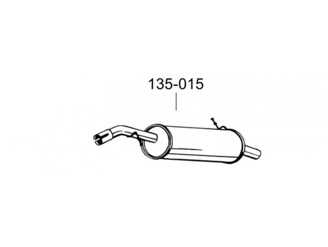 Глушитель Сітроен С2 (Citroen C2) 1.4i -16V 06- (135-015) Bosal 04.262 алюминизированный