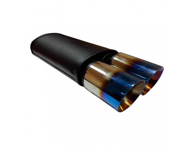 Прямоточный глушитель YFX-0688 (V012) алюминизированный/нержавейка Синий