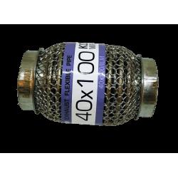 Гофра глушителя 40Х100 усиленная Interlock кольчуга (3 слоя, короткий фланец / нерж.сталь) Euroex