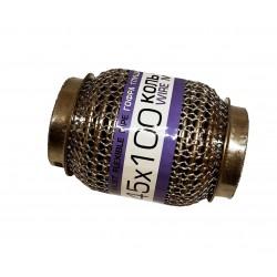 Гофра глушителя 45Х100 усиленная Interlock кольчуга (3 слоя, короткий фланец / нерж.сталь) EuroEx
