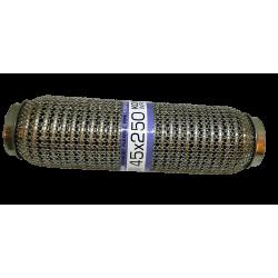 Гофра глушителя 45Х250 усиленная Interlock кольчуга (3 слоя, короткий фланец / нерж.сталь) EuroEx
