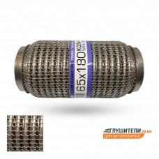 Гофра глушителя 65Х180 усиленная Interlock кольчуга (3 слоя, короткий фланец / нерж.сталь) EuroEx