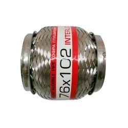 Гофра глушителя 76Х102 усиленная Interlock (3 слоя, короткий фланец / нерж.сталь) EuroEx