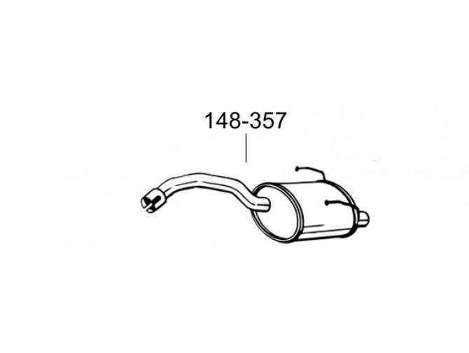 Глушитель Фиат Панда (Fiat Panda II) 05- (148-357) Bosal алюминизированный