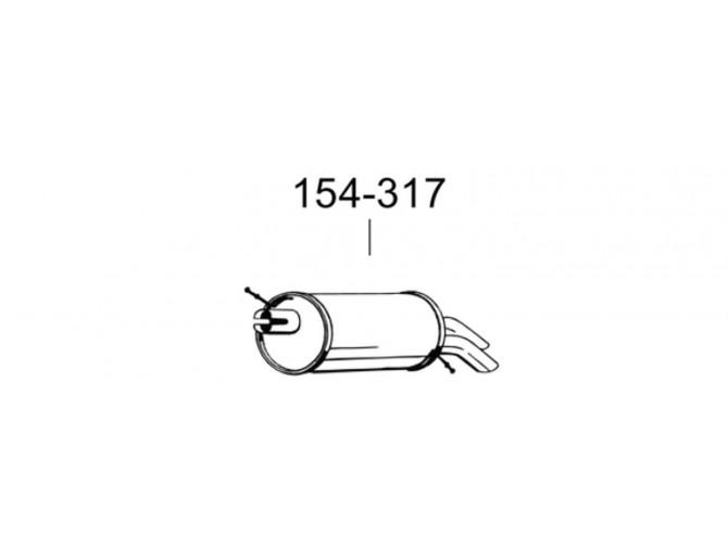 Глушитель Форд Галакси (Ford Galaxy)/Сеат Альхарма (Seat Alhambra)/Фольксваген Шаран (Volkswagen Sharan) 1.9TDi 00-10 (154-317) Bosal 08.671 алюминизированный