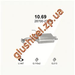 Глушитель Хюндай Купе (Hyundai Coupe) 1.6/2.0i -16V 96-99 (10.69) Polmostrow алюминизированный