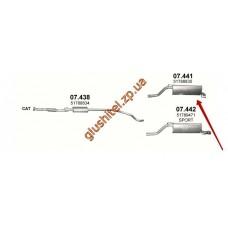 Глушитель Фиат Гранде Пунто (Fiat Grande Punto) 1.4 05-08 (07.441) Polmostrow алюминизированный