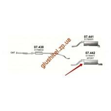 Глушитель Фиат Гранде Пунто (Fiat Grande Punto) 1.4 05-08 (07.442) Polmostrow алюминизированный (sport)
