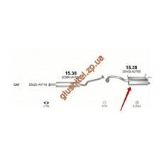 Глушитель Ниссан Примера (Nissan Primera) 02-07 1.8i 16V kat (15.39) Polmostrow алюминизированный
