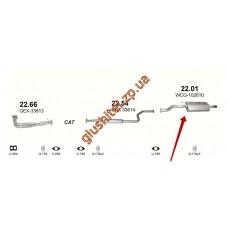 Глушитель Ровер 416 (Rover 416) 1.6; 95-99 (22.01) Polmostrow алюминизированный
