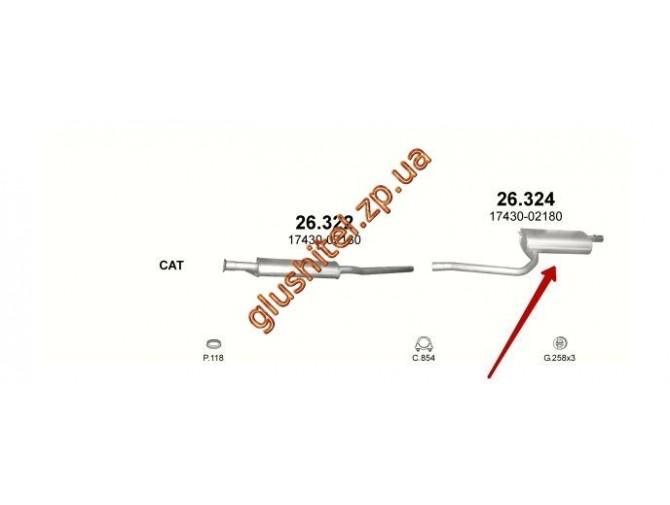 Глушитель Тойота Авенсис 1.6 (Toyota Avensis 1.6) (26.324) 97-00 Polmostrow алюминизированный