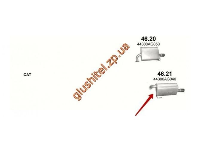 Глушитель Субару Аутбек 2.5 (Subaru Outback 2.5) (46.21) 03-09 Polmostrow алюминизированный