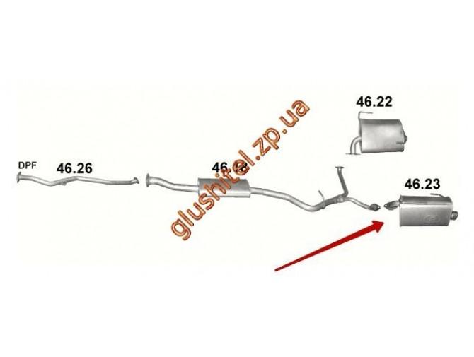Глушитель Субару Форестер 4x4 2.0 D (Subaru Forester 4x4 2.0 D) (46.23) 08-13 Polmostrow алюминизированный