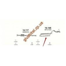 Глушитель Митсубиси Л200 (Mitsubishi L200) (14.145) 2.5TD TD 96-05 Polmostrow алюминизированный