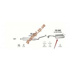 Глушитель Ниссан Примера (Nissan Primera) 02-07 2.0i-16V (15.242) Polmostrow алюминизированный