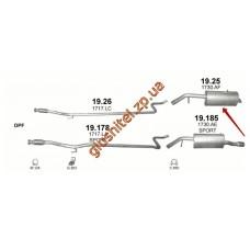 Глушитель Пежо 207 (Peugeot 207) 1.6D 06-11 (19.25) Polmostrow алюминизированный
