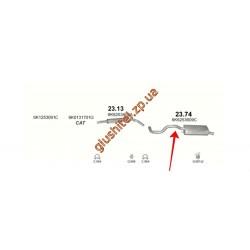 Глушитель Сеат Ибица (Seat Ibiza) 1.6i / 1.8i / 2.0i / 1.9 TDi 93-96 (23.74) Polmostrow алюминизированный