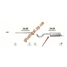 Глушитель Шкода Румстер (Skoda Roomster) 1.2D/1.4D/1.6D/1.9D 06- (24.69) Polmostrow алюминизированный
