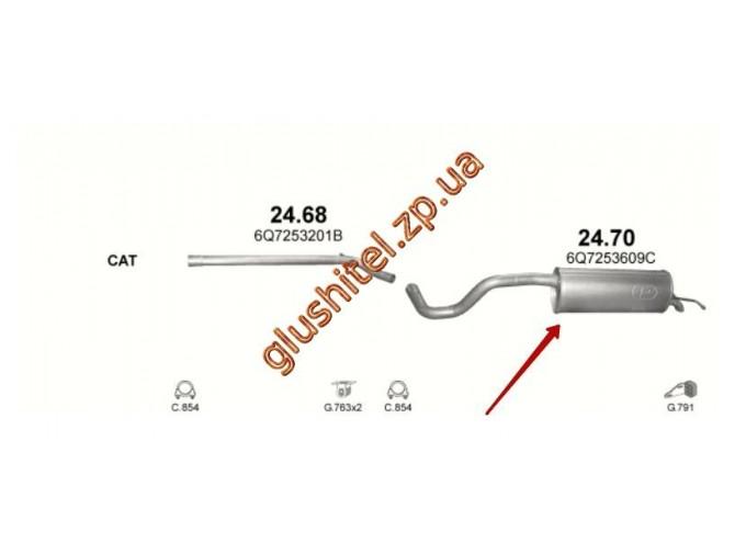 Глушитель Шкода Румстер (Skoda Roomster) 1.9D 06-10 (24.70) Polmostrow алюминизированный