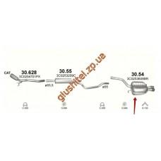 Глушитель Фольксваген Пассат (Volkswagen Passat) 2.0D 07-10 (30.54) Polmostrow алюминизированный