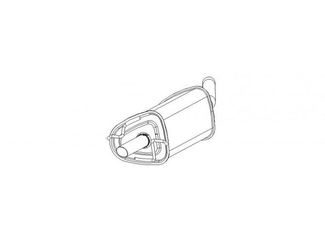 Глушитель ДЭУ Ланос (Daewoo Lanos) хэтчбек (на хомут) (TF48YP-1201009-10) Bosal 05.10 алюминизированный