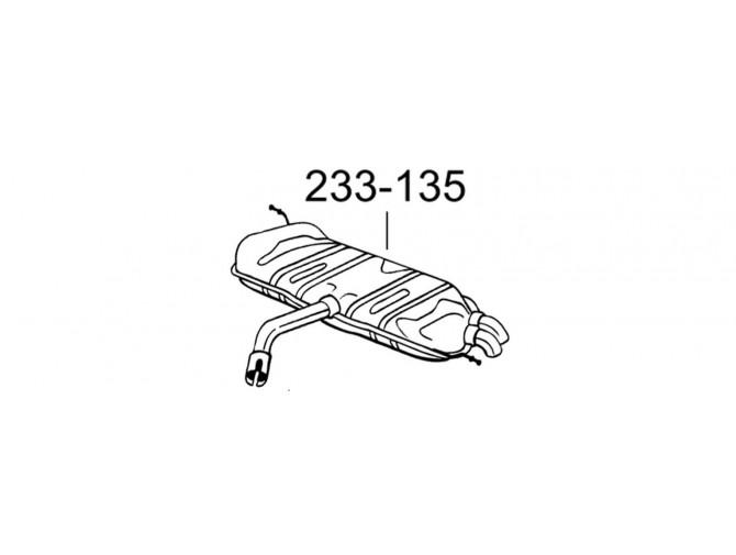 Глушитель Фольксваген Туран (Volkswagen Touran) 9 TDi TD 05/04- (233-135) Bosal алюминизированный