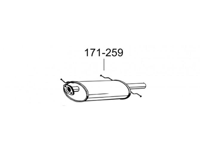 Глушитель Мазда 626 (Mazda 626) 97-03 (171-259) Bosal 12.209 алюминизированный