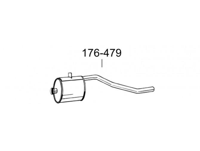 Глушитель Мерседес 207Д (Mercedes 207D) 80-89 (176-479) Bosal 13.15 алюминизированный