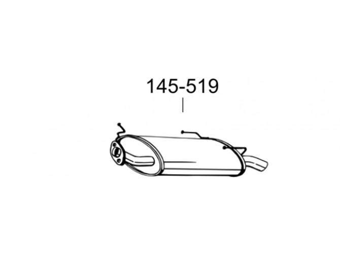 Глушитель Ниссан Примьера (Nissan Primera) 98-02 (145-519) Bosal 15.00 алюминизированный
