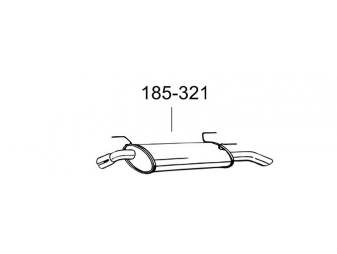Глушитель Опель Астра (Opel Astra) 1.6i 16V kombi  96- (185-321) Bosal 17.79 алюминизированный
