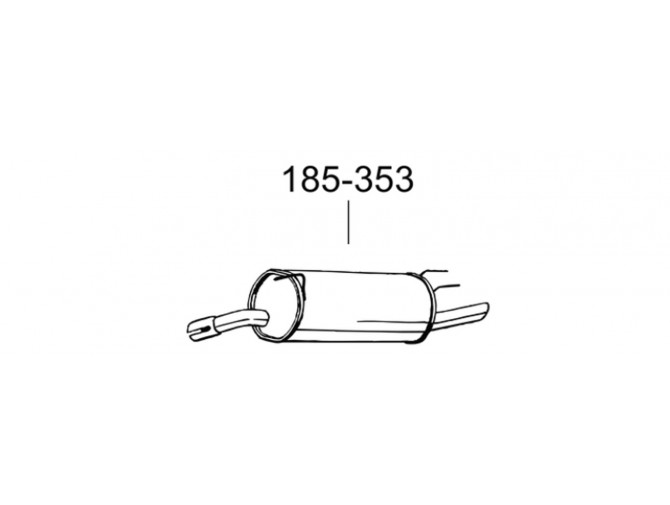Глушитель Опель Омега Б (Opel Omega B) 94-99 (185-353) Bosal 17.53 алюминизированный