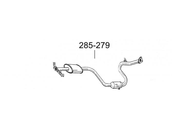 Глушитель передний Митсубиси Спейс Вагон (Mitsubishi Space Wagon) 92-96 (285-279) Bosal алюминизированный