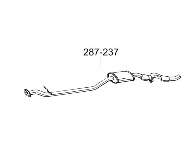 Глушитель передний Ніссан Кашкай (Nissan Qashqai) 2.0i 16V, 06- (287-237) Bosal 15.55 алюминизированный