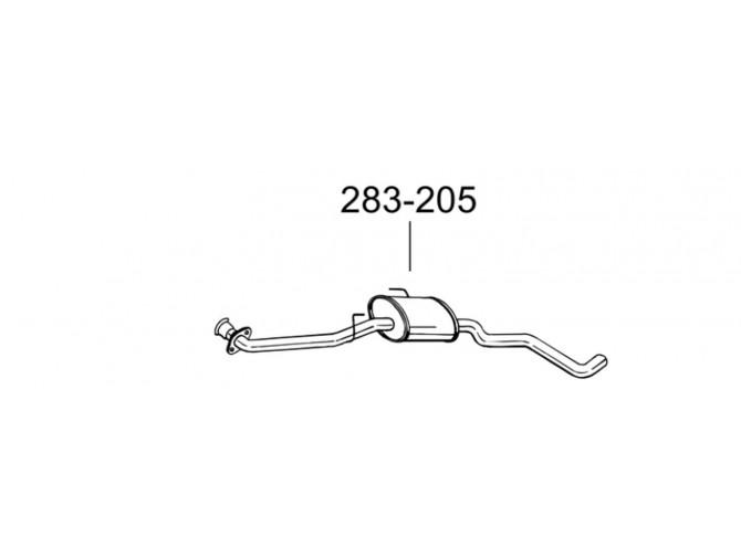Глушитель передний Опель Омега Б (Opel Omega B) 94-01 (283-205) Bosal 17.232 алюминизированный