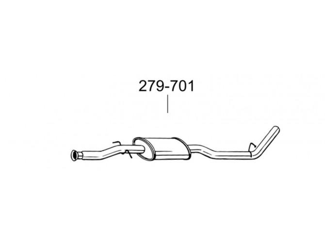 Глушитель передний Рено Кенго (Renault Kangoo) 99-02 (279-701) Bosal алюминизированный