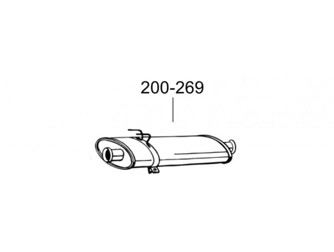 Глушитель передний Рено Мастер II (Renault Master II) 2.5D 97-01 (200-269) Bosal 21.282 алюминизированный