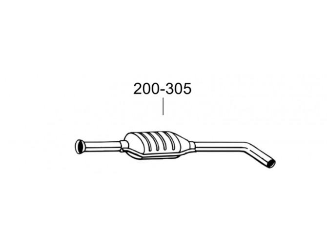 Глушитель передний Рено Меган (Renault Megane) 1.6i -16V; 1.9dCi TD 98-02 (200-305) Bosal 21.288 алюминизированный