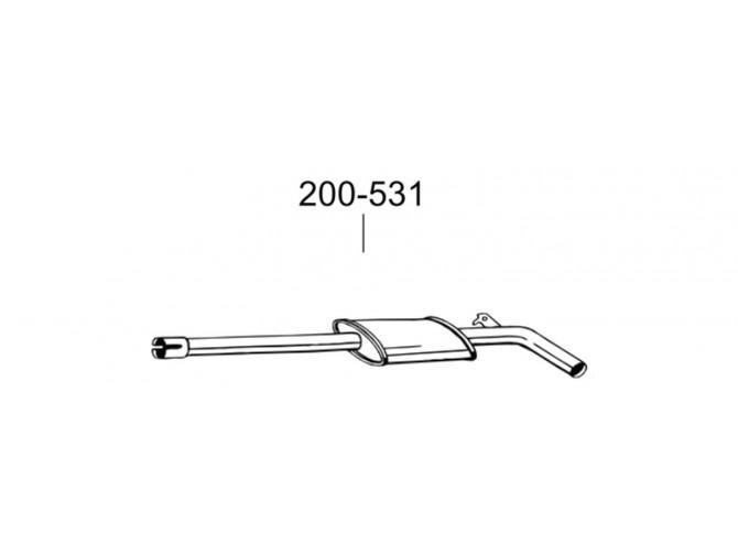 Глушитель передний Рено Модус (Renault Modus) 04- (200-535) Bosal алюминизированный