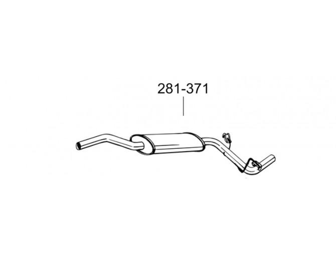 Глушитель передний Шкода Фелиия (Skoda Felicia) 1.6i kombi kat 94- (281-371) Bosal 24.17 алюминизированный